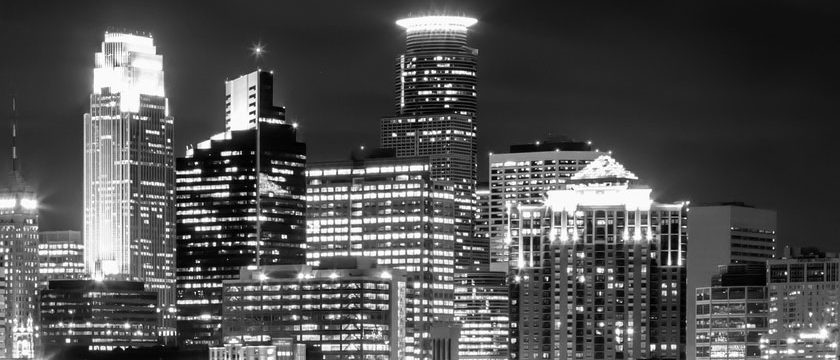 Minneapolis skyline in grayscale