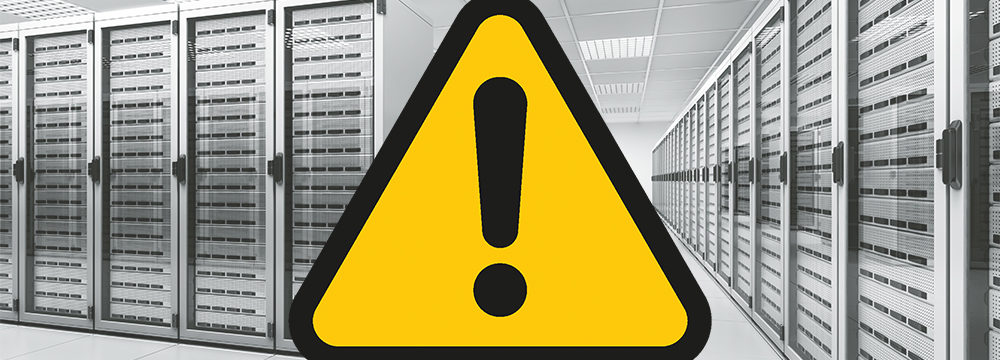 Server room caution sign