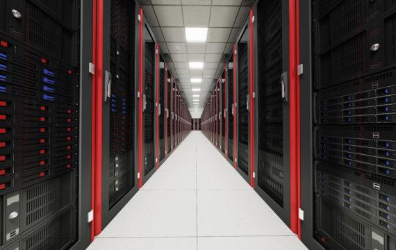 Inside the long server room tunnel